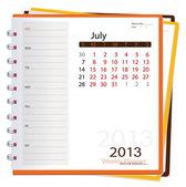 Kalendář 2013 zápisník, červenec. vektorové ilustrace.