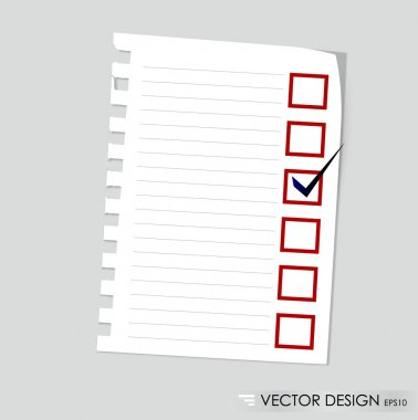 A checklist with black marker and red checked boxes. Concept vec