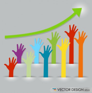 Raised hands, abstract vector illustration.