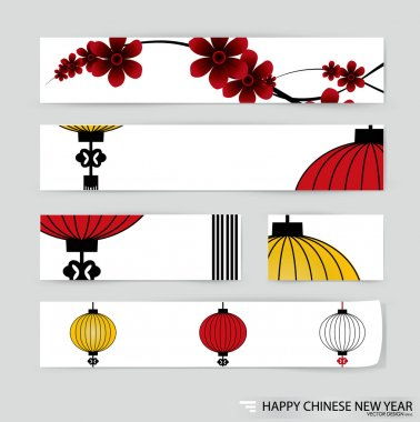 Big traditional chinese lanterns vector background brochure template. clip art vector