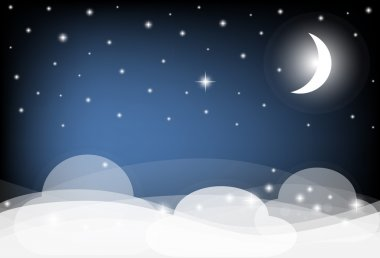 Night Sky with Moon, Clouds and shining Stars. Vector illustrati