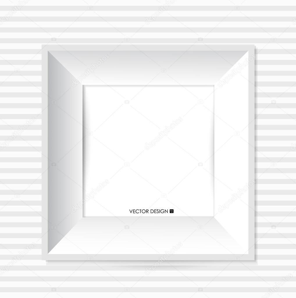 blanco moderno marco en la pared, ilustración vectorial — Archivo ...