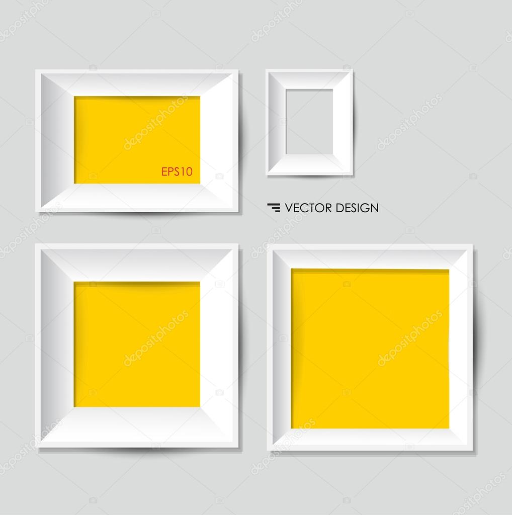 White modern frames on the wall, vector illustration. — Stock Vector ...