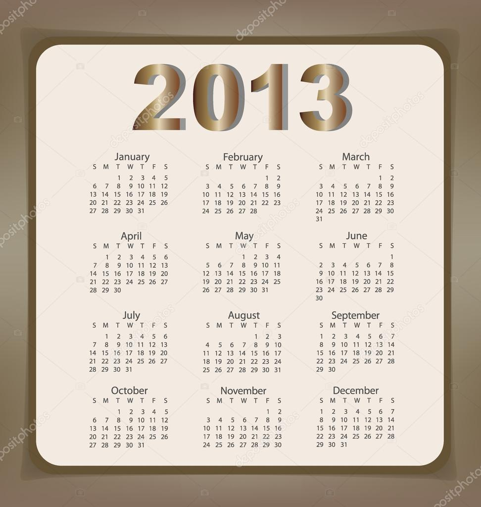 simple 2013 year calendar vector illustration stock vector