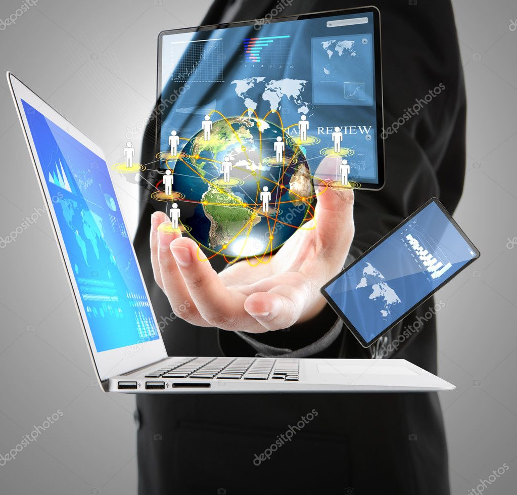 Business man with laptop,mobile phone,touch screen device (Eleme