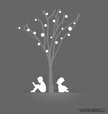 Vector background with children read a book under tree. Vector I