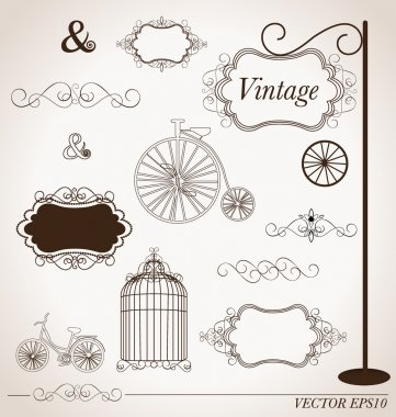 Vector set of vintage design elements, can be used for wall stic