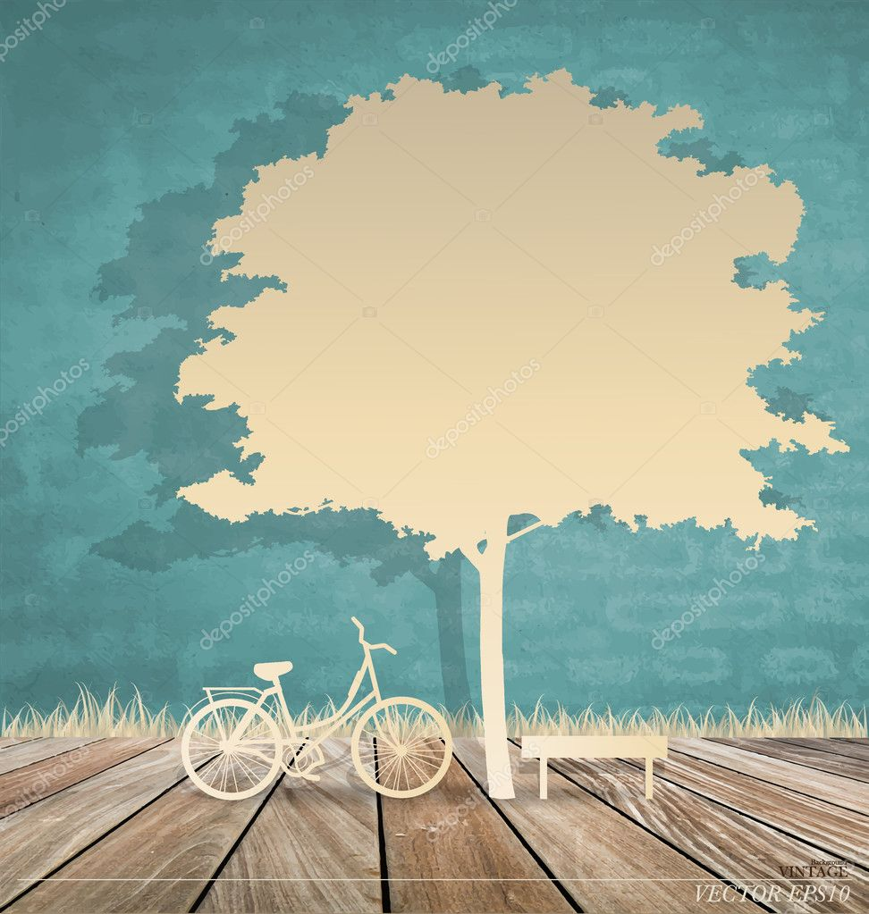 Abstract background with bicycle under tree. Vector Illustration