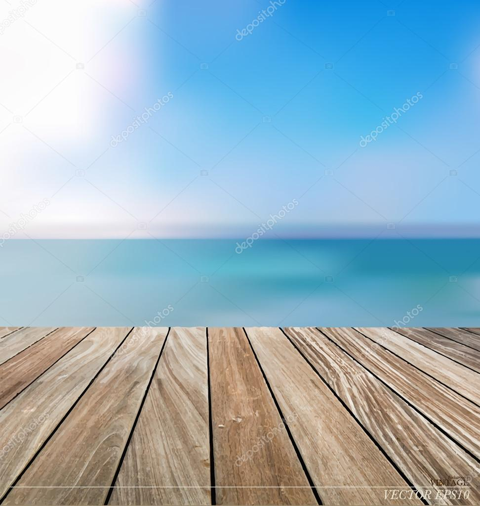 Summer holiday background with wood terrace. Vector illustration