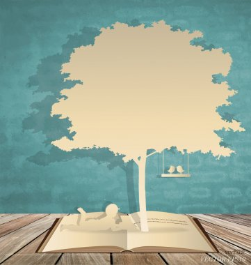 Abstract background with children read a book under tree. Vector