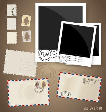 Vintage postcard designs, envelope and postage stamps. Vector EP