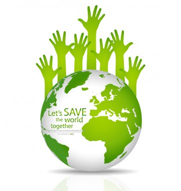 Save the world, Globe with hands. Vector illustration