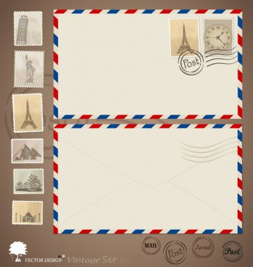 Vintage envelope designs and stamps. Vector illustration. stock vector