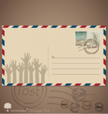 Vintage envelope designs with postage stamps. Vector illustratio