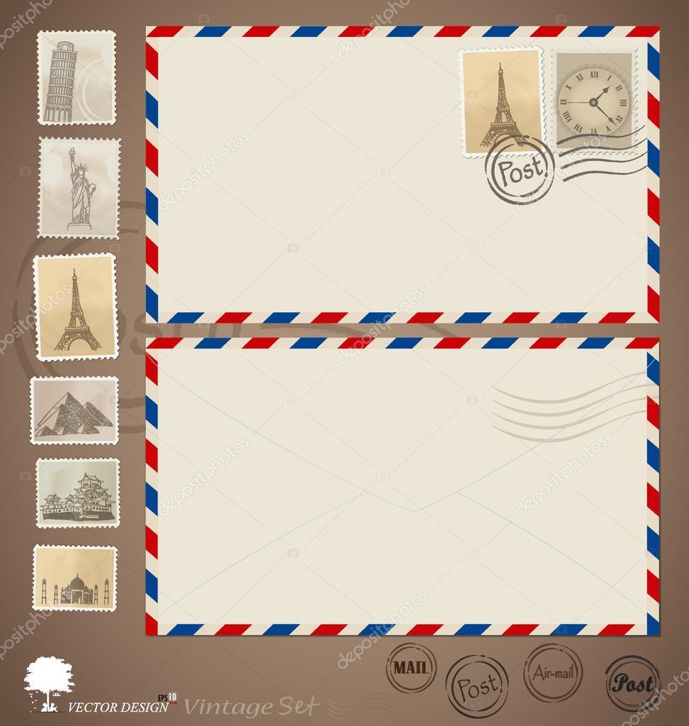 Vintage envelope designs and stamps. Vector illustration.