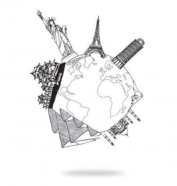 Drawing travel around the world (Japan,France,Italy,New York,Ind