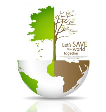 Save the world, Tree on a deforested globe and green globe. Vect