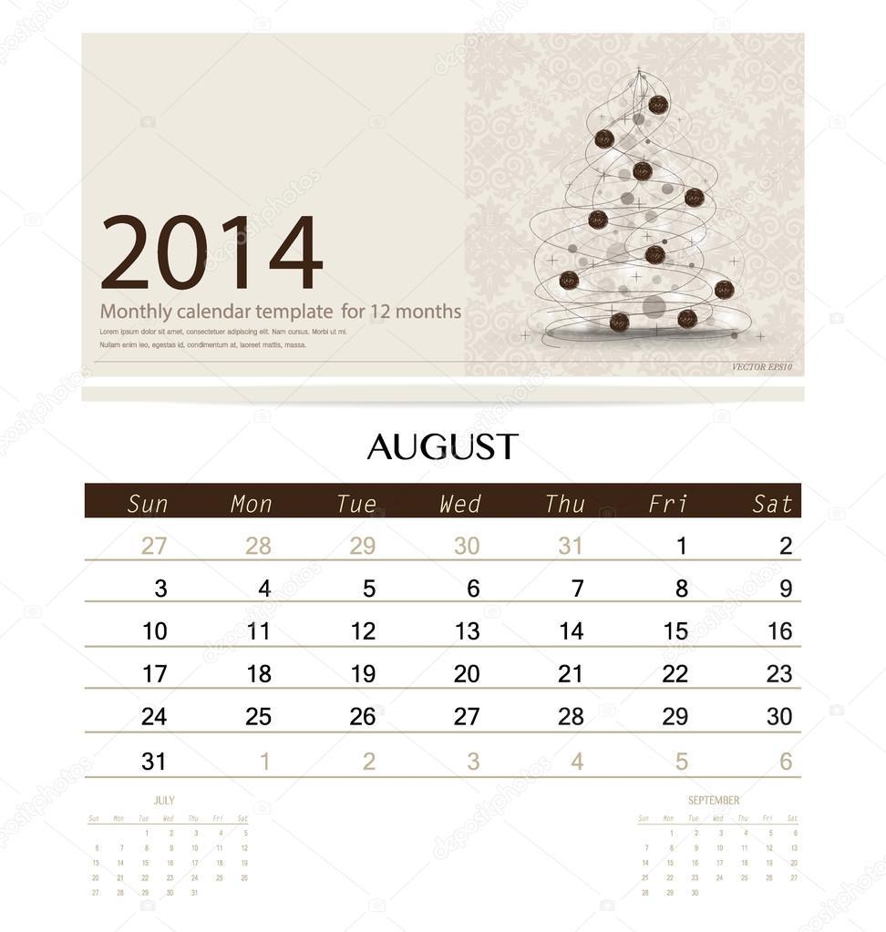 2014 Kalender monatlich Kalendervorlage für august (Weihnachten-t ...
