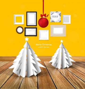 Merry Christmas greeting card with origami Christmas tree, Chris