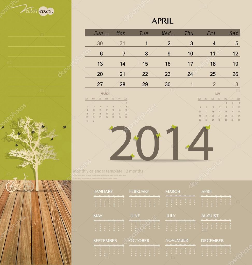 2014 Kalender, monatlich Kalendervorlage für April. Vektor-illus ...