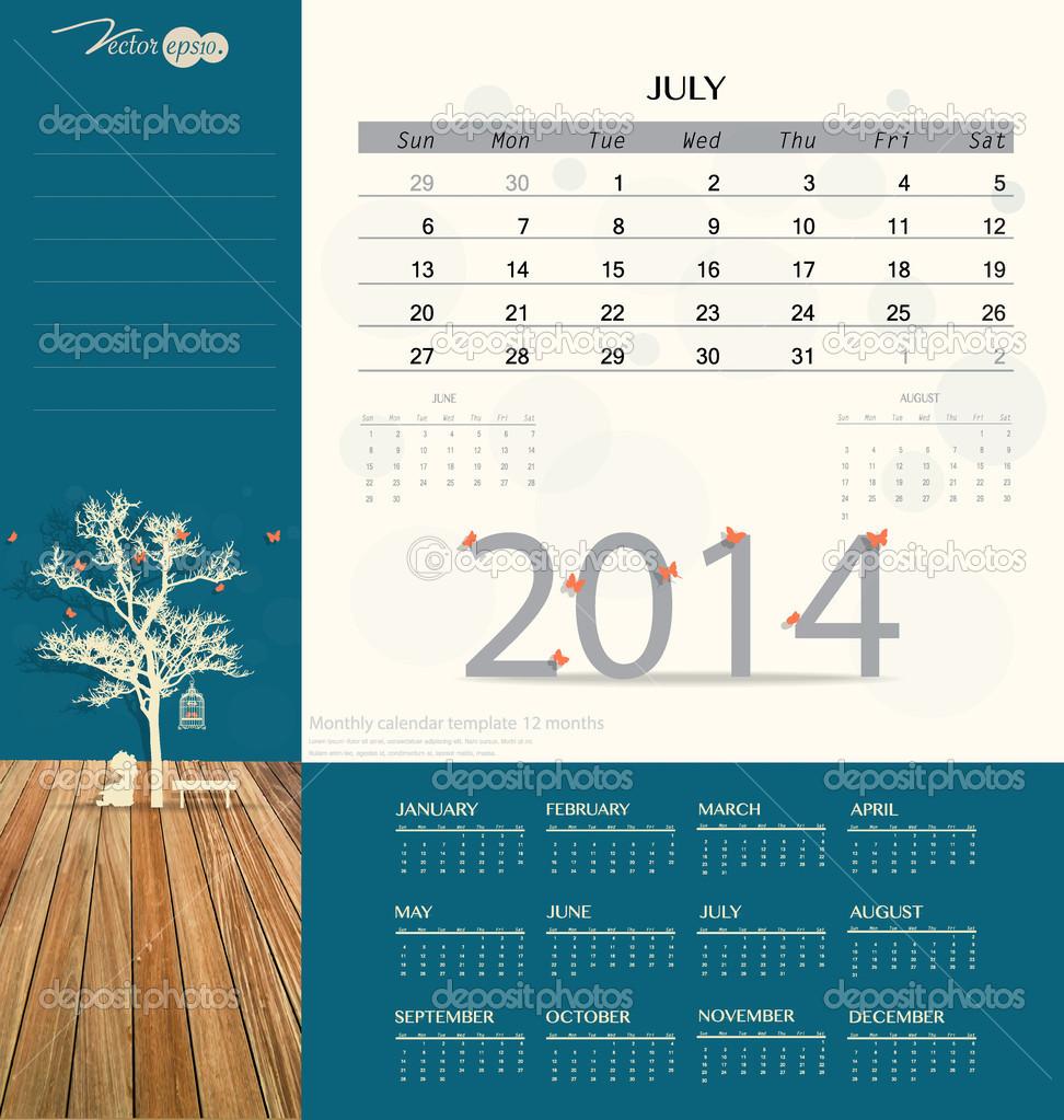 2014 Kalender, monatlich Kalendervorlage für Juli. Vektor illust ...