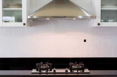 Modern white clean kitchen interior
