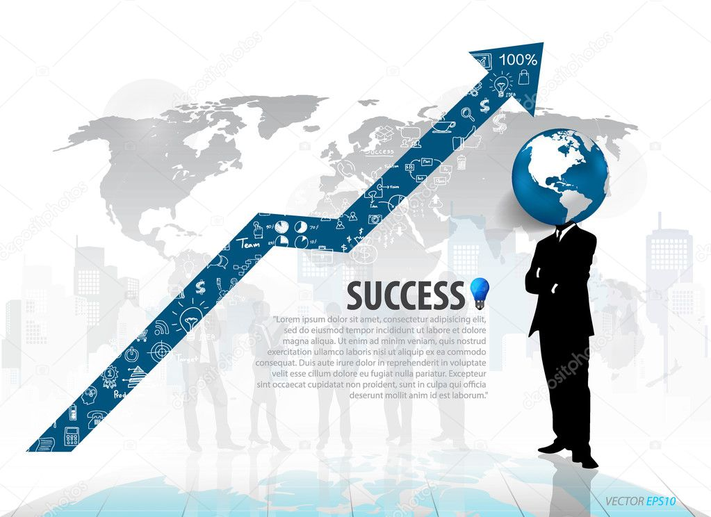 Globe headed man standing in abstract business background. Vecto