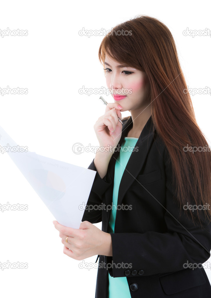Business woman hold clipboard paper with finance chart isolated