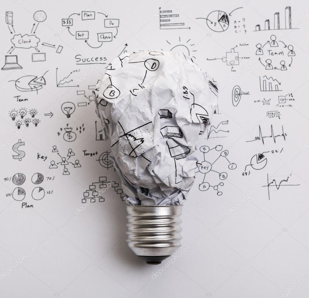 Crumpled Paper Light Bulb With Drawing Graph Stock Photo