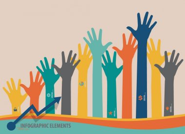 Infographic design template - colorful raised hands. Vector illu