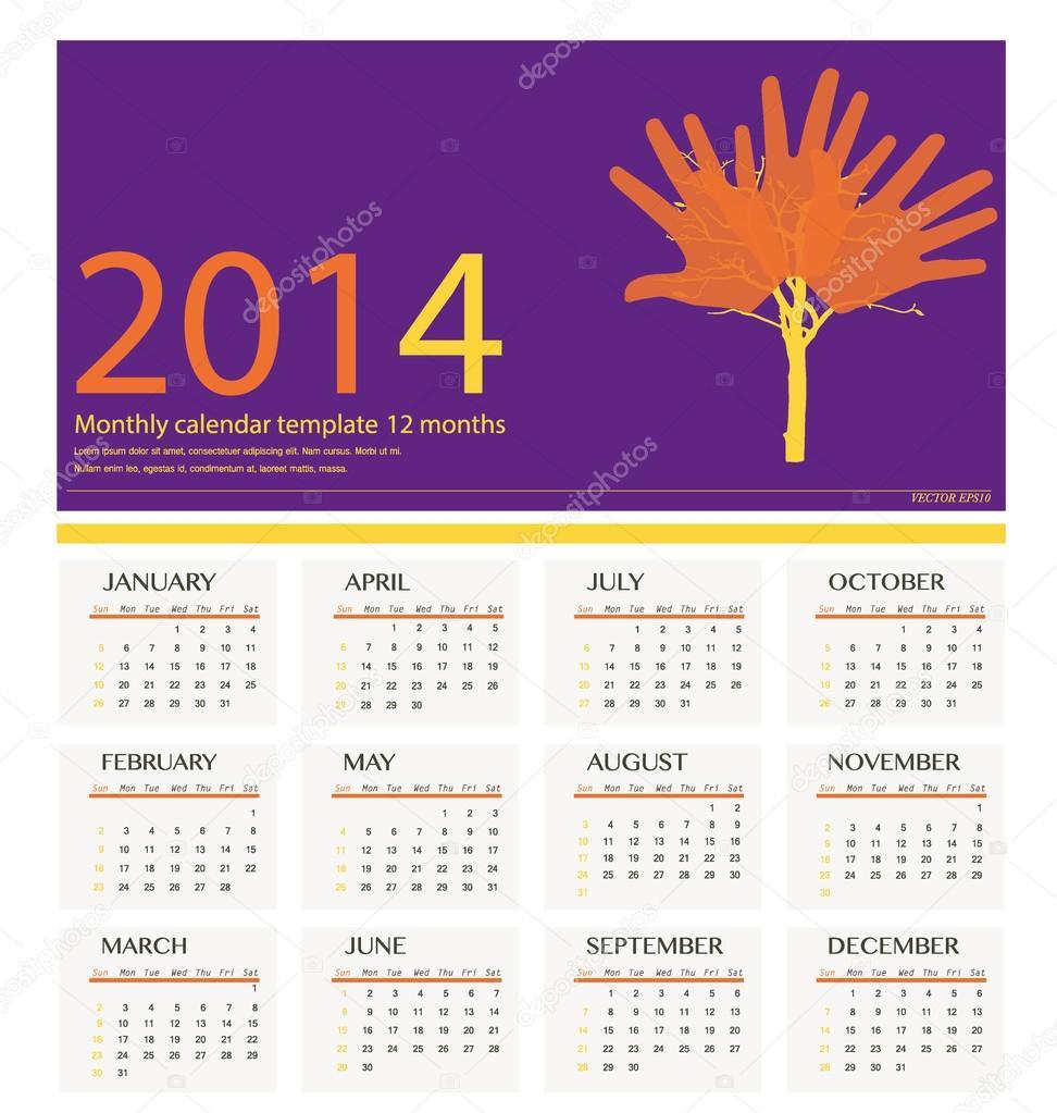 Calendario Anno 1980.Calendario Anno 2014 Illustrazione Vettoriale Vettoriali
