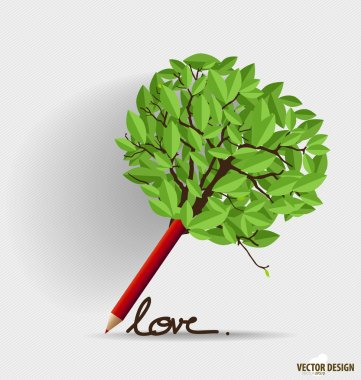 Pencil with leaf. Vector illustration.