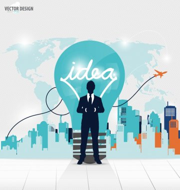 Business people silhouettes and light bulb as inspiration concep