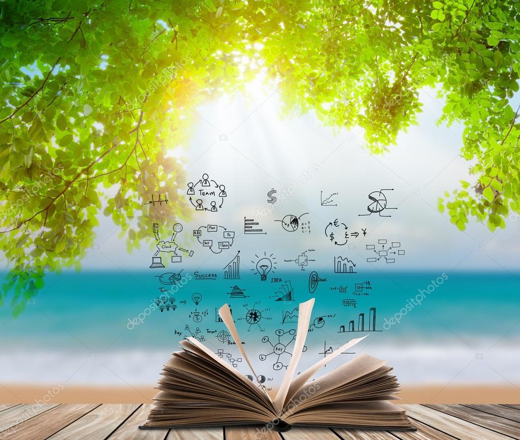 Abrir libro sobre piso de madera con hierba verde y hojas - En el piso de abajo libro ...
