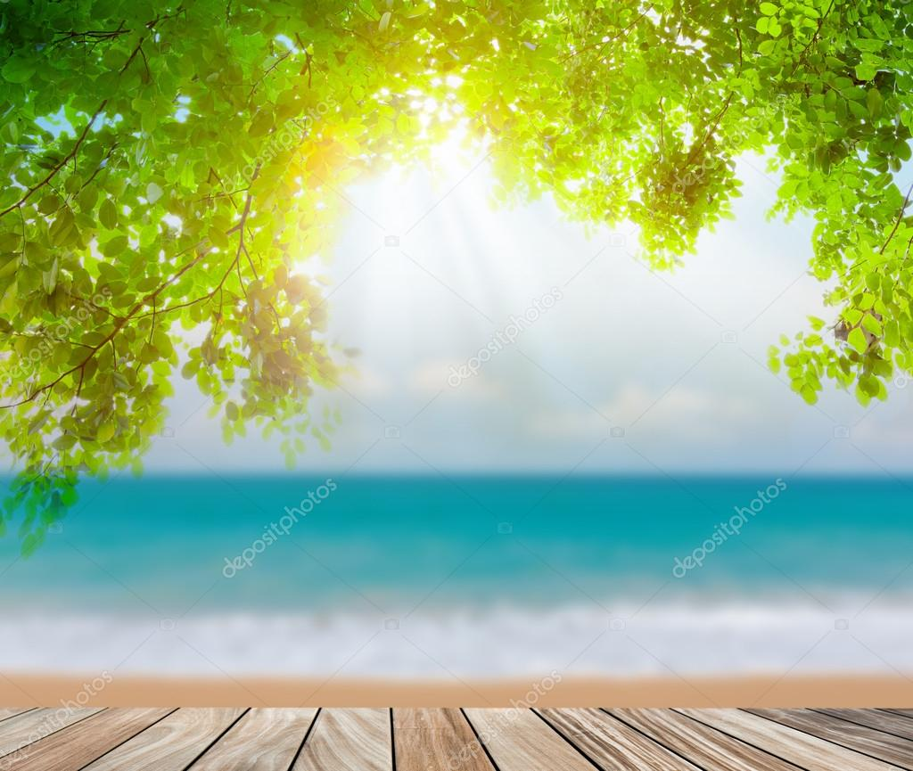 Wood terrace on the beach sea and sun light
