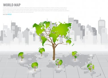 Green economy concept : Tree shaped world map with building back