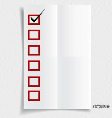 A checklist with black marker and red checked boxes on note pape