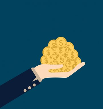 Money on hand. Modern Flat design vector illustration concept.