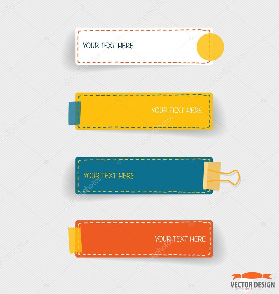 Cute note papers, Business working elements for web design , mob