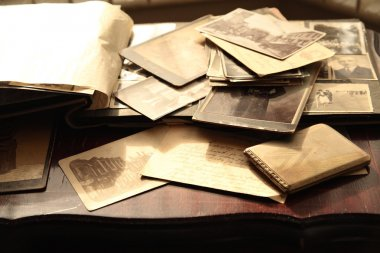 Old photos, postcards and letters.