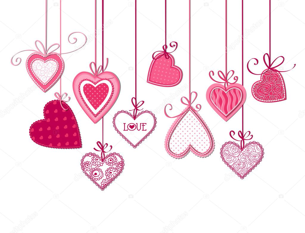 Valentines day card, Pink fabric hearts with bows on white background stock vector