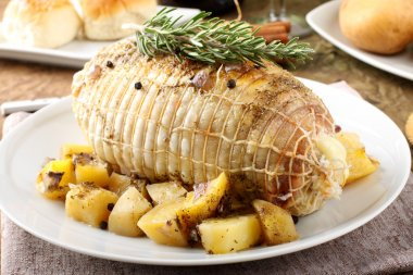 Chicken roll stuffed with baked potatoes