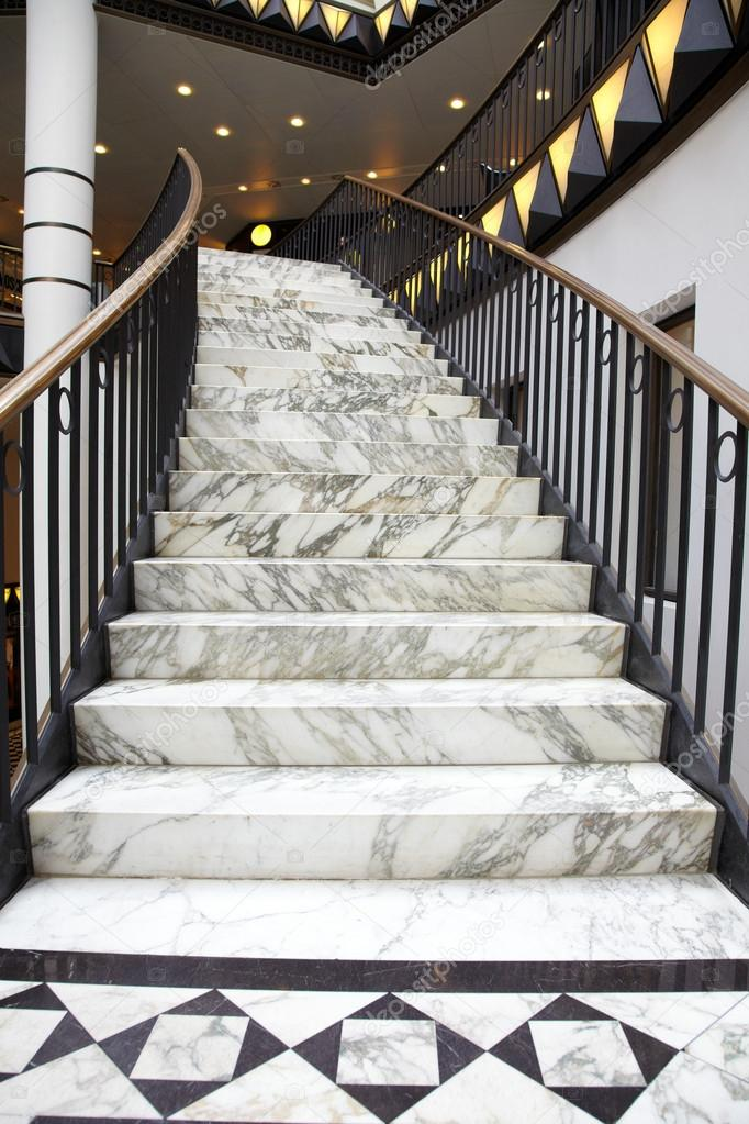 Great White Marble Stair In Luxury Interior U2014 Stock Photo #12806926