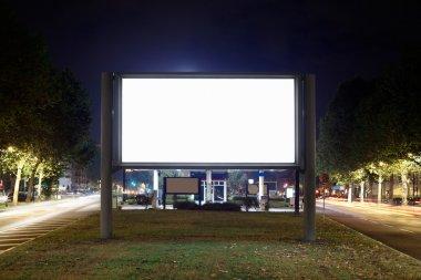 Blank billboard at night