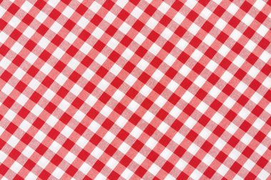 Tablecloth red and white gingham texture background