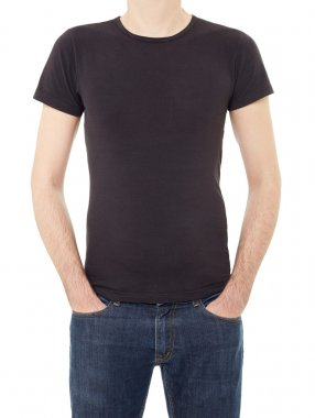 Man wearing black t-shirt isolated on white, clipping path included stock vector