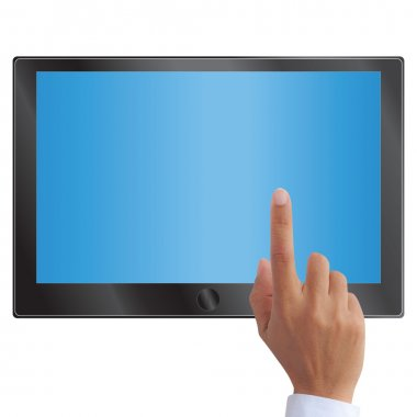 Hand pointing on touch screen tablet or pc isolated on white stock vector