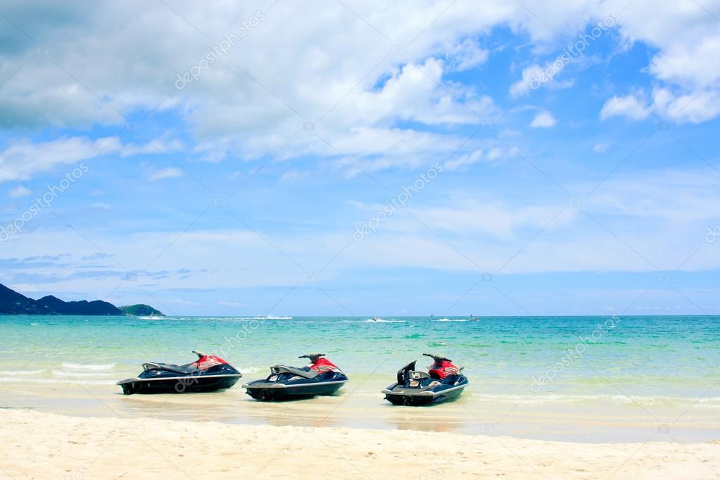 Three jetski on the beach. Koh Samui,Thailand