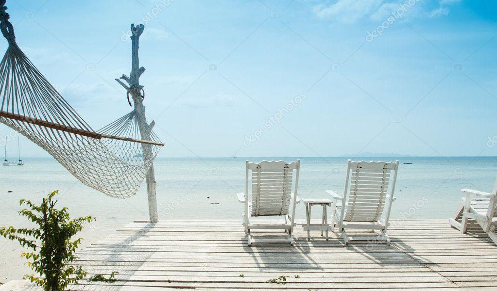 White beach chair and hammock