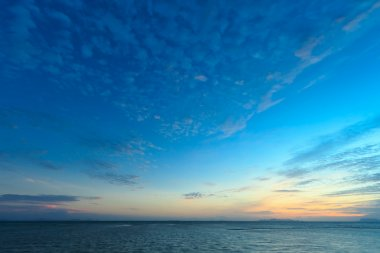 Sunset sky and tropical sea at dusk